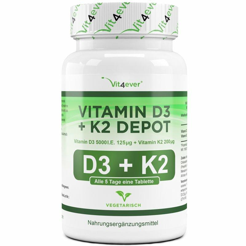 Vitamin D3 5.000 I.E. + Vitamin K2 200 mcg - 100 Tabletten